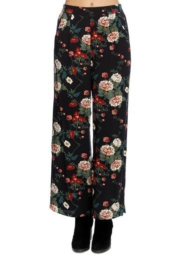 Ichi İchi Çiçek Desenli Pantolon Siyah